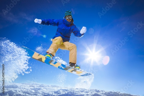Poster Winter sports Athlete on a snowboard