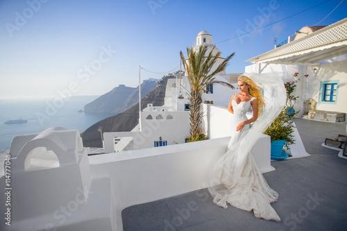 Fotografie, Obraz  Beautiful young couple in wedding dress with a long veil Santorini