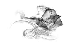 Double Exposure Portrait Of Woman And Smoke.