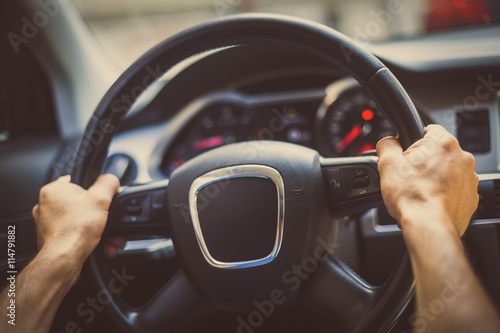 Hands on steering wheel Canvas Print
