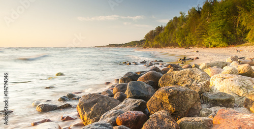 beautiful view of the Baltic Sea to the Polish town Rozewie