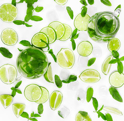 Fototapeta Limes, fresh mint and ice for mojito