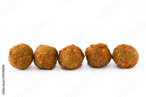Vegetarian falafels isolated on white background