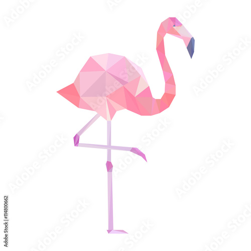 Pink polygonal flamingo. фототапет