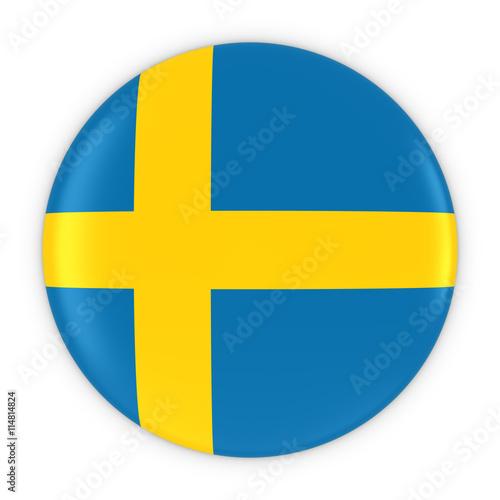 Fotografía  Swedish Flag Button - Flag of Sweden Badge 3D Illustration