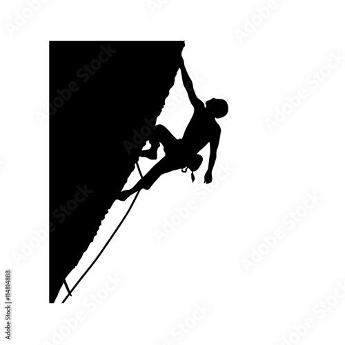 Poster mountain climber icon Vector Illustration