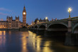Big Ben and Houses of parliament at dusk(blue hour), London, UK