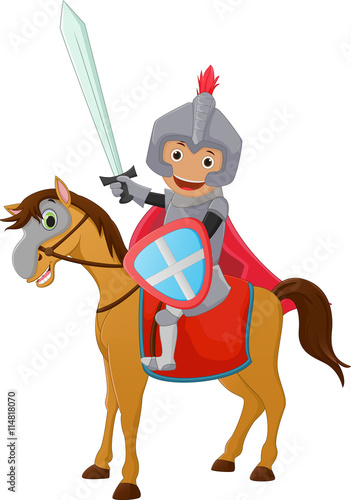 Fotobehang Superheroes illustration of Brave Knight riding on a horse
