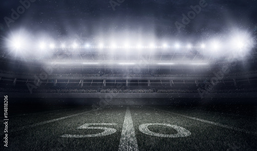 Fotografie, Tablou  American football stadium in lights and flashes