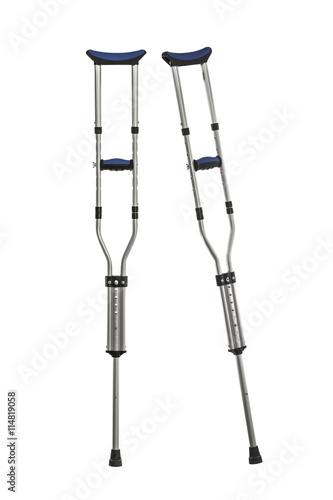 Foto Adjustable Metal Crutches Isolated on White
