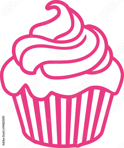 Photo  Pink Cupcake outline contour
