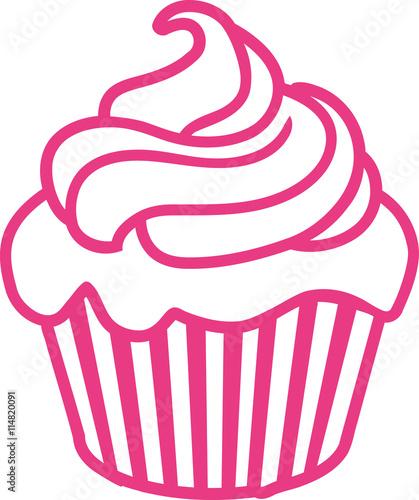 Pink Cupcake outline contour Wallpaper Mural