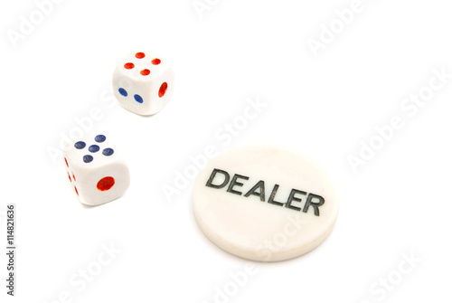 Fototapeta pair of plastic dices and chips