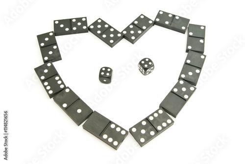 Fotografie, Obraz black dominoes chips and dices