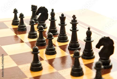 Fotografie, Obraz black chess figures on chessboard