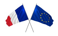 3d Illustration Of France And EU Together Waving In The Wind