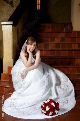 Photo  Bride Waiting On Steps