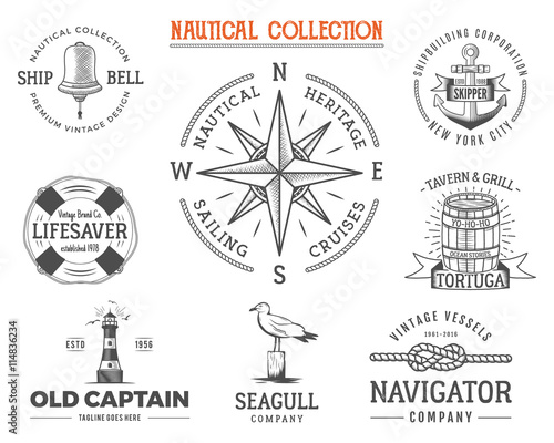 vintage nautical stamps set old ship retro style sailing labels
