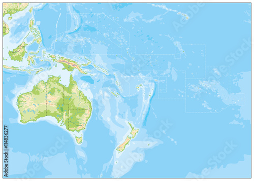Blank Relief Map of Oceania Wallpaper Mural