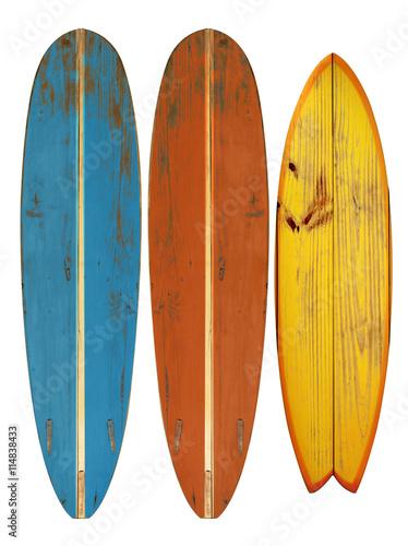 Valokuva  Vintage surfboard isolated on white - Retro styles 60's
