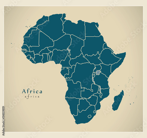 Fotografie, Obraz  Modern Map - Africa continent with frontiers