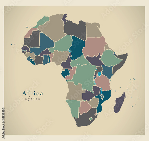 Fotografie, Obraz  Modern Map - Africa continent with countries political colored
