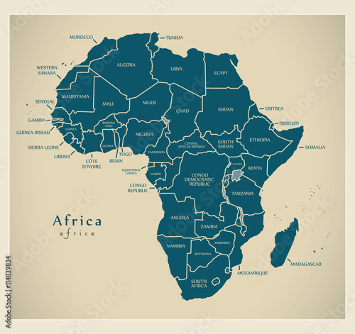 Valokuvatapetti Modern Map - Africa continent with country labels