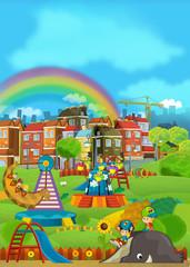 Cartoon scene with children having fun at the playground - illustration for children
