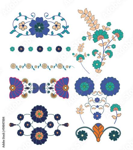 Fotografering  ethnic flower vector element set