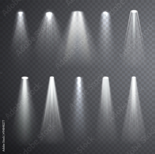 Bright white light beam. Glowing light effects isolated on checkered transparent background. Set of spotlights lighting Wall mural