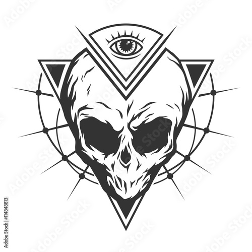 фотография  The skull is an alien and all-seeing eye.
