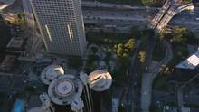 Flying Over Westin Bonaventure Hotel To Freeway In Los Angeles. Shot In 2008.