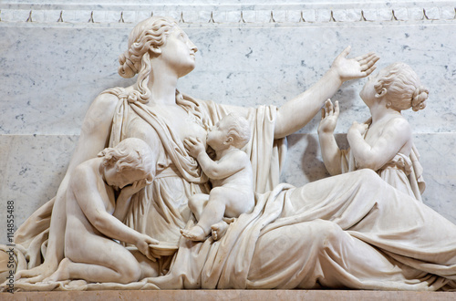 In de dag Zuid-Amerika land BRESCIA, ITALY - MAY 22, 2016: The detail of The Compassion statue on the tomb of bishop G. M. Nava in Duomo Nuovo by Gaetano Monti (1776-1847).