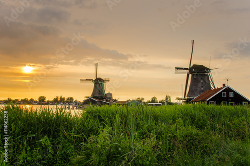 Traditional Dutch Windmills at Sunset