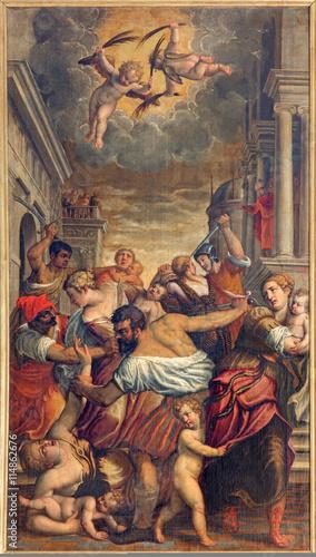 Photo BRESCIA, ITALY - MAY 22, 2016: The painting Massacre of the Innocent in church Chiesa di Santa Maria del Carmine (holy Innocents chapel) by Pietro Marone (1548 - 1625)