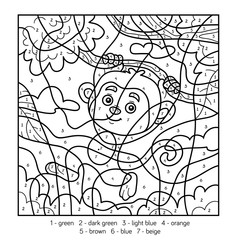 Color by number for children with monkey