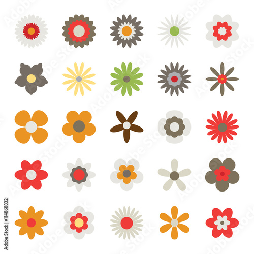Flowers Isolated On White Background Set Of Colorful Floral