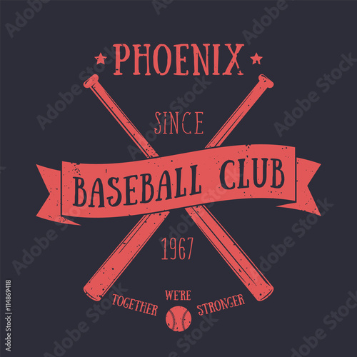 Photo  Phoenix Baseball club t-shirt print, red on dark, vector illustration
