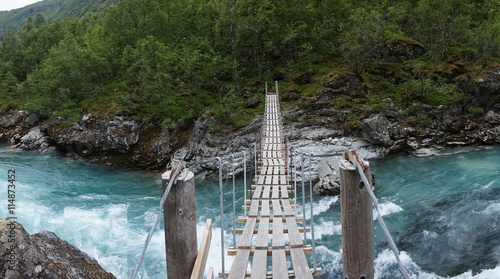 fototapeta na lodówkę Wooden footbridge; Norway
