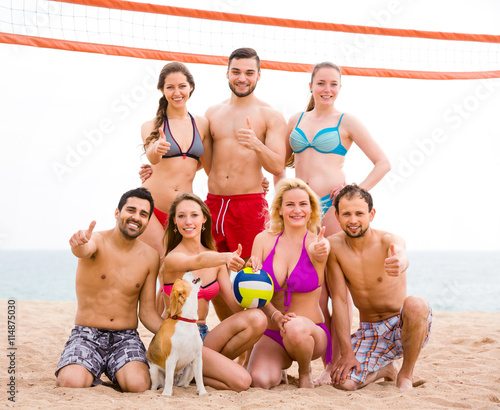 obraz lub plakat Vacationers playing volleyball on beach