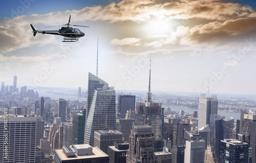 Poster Helicopter Helicopter for sightseeing over Manhattan.