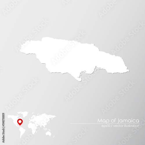 Vector map of Jamaica with world map infographic style ...