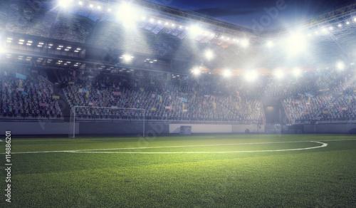 Football stadium in lights . mixed media Canvas