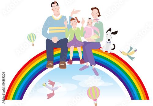 Keuken foto achterwand Regenboog 虹に座るメルヘン家族