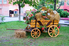 A Wooden Wagon With Hay, Flowers, Vegetables