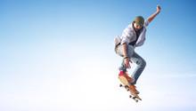 Skater On The Sky Background. ...