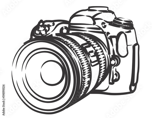 Fotografie, Obraz  Sketch of professional camera.
