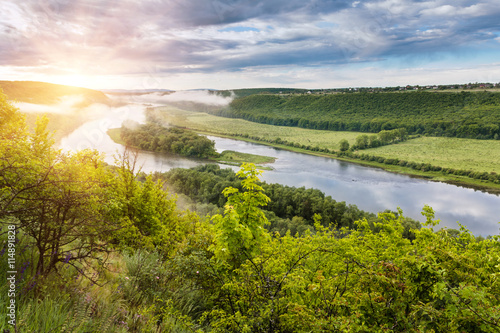 Foto op Aluminium Rivier Bend of the river and island, the panoramic view from the hill.