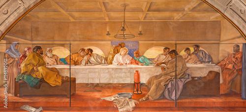 Valokuva  BRESCIA, ITALY - MAY 22, 2016: The fresco of Last Supper in church Chiesa di Chr
