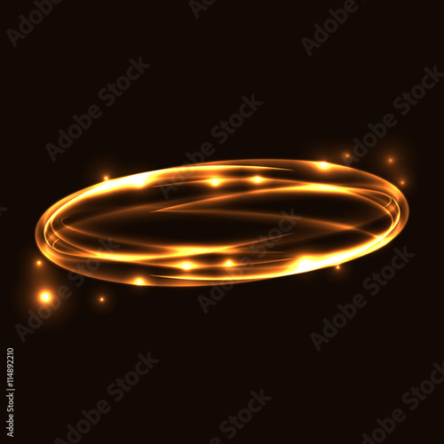 gold circle light tracing glowing magic fire ring trace sparkle